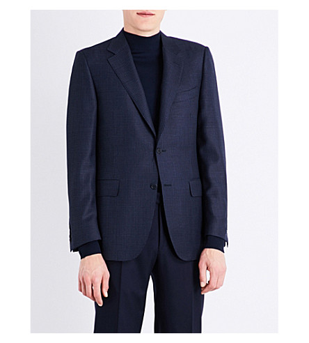 CANALI Regular-fit checked wool jacket (Blue
