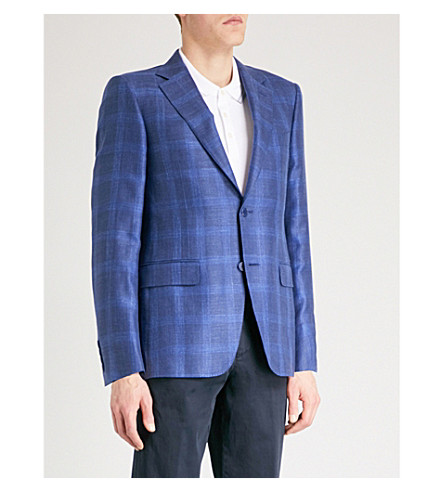 CANALI Checked tailored-fit wool and silk-blend jacket (Indigo