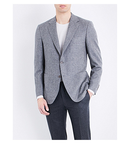 CANALI Herringbone woven regular-fit wool jacket (Grey