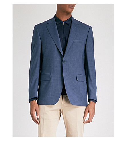 CANALI Mini-check regular-fit wool jacket (Blue