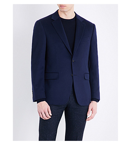CANALI Single-breasted cashmere jacket (Blue