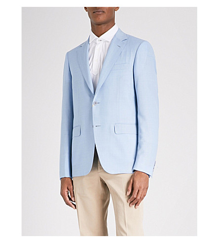 CANALI Tailored-fit wool jacket (Bright+blue