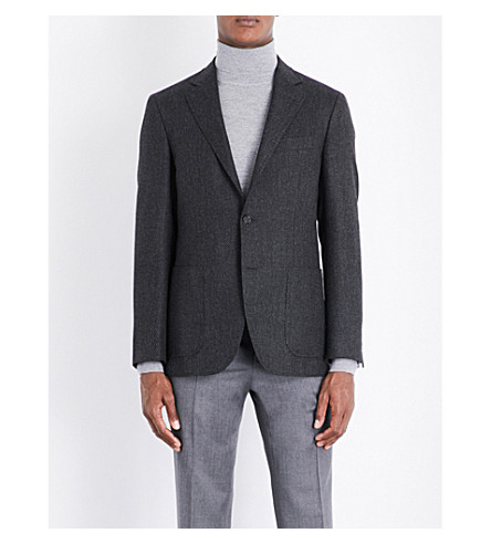 CANALI Hopsack woven regular-fit wool and cashmere-blend jacket (Charcoal