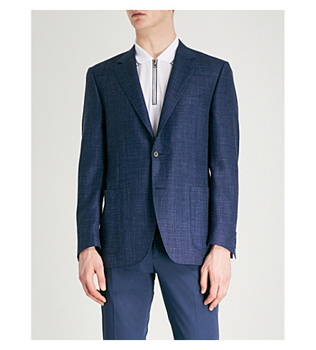 CANALI Contrast regular-fit wool and silk-blend jacket (Blue