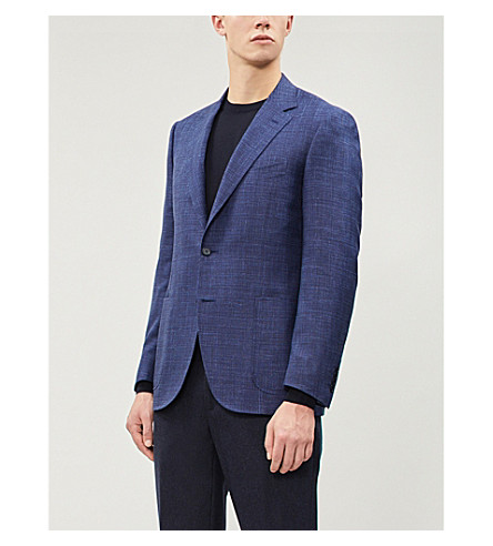 CANALI Contrast regular-fit wool and silk-blend jacket (Navy