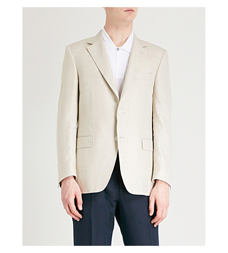 CANALI Basketweave regular-fit wool and silk-blend jacket (Beige