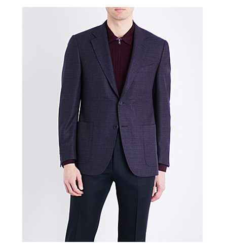 CANALI Woven regular-fit wool jacket (Purple
