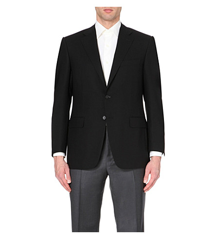 CANALI Single-breasted wool jacket (Black