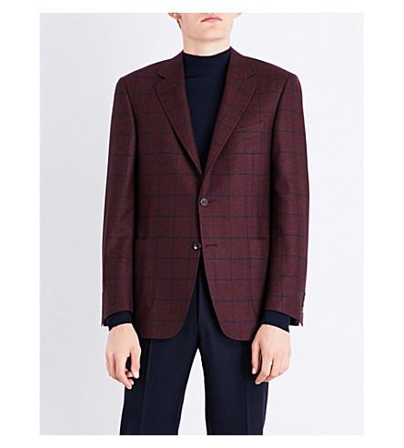 CANALI Windowpane check cashmere jacket (Burgundy