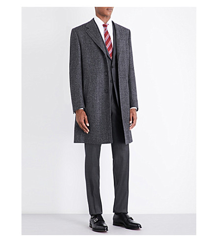 CANALI Herringbone regular-fit wool coat (Charcoal