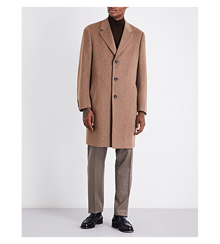CANALI Single-breasted cashmere coat (Camel