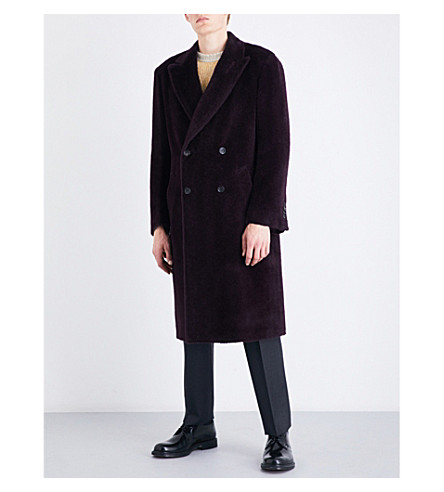 CANALI Double-breasted alpaca and wool-blend coat (Purple