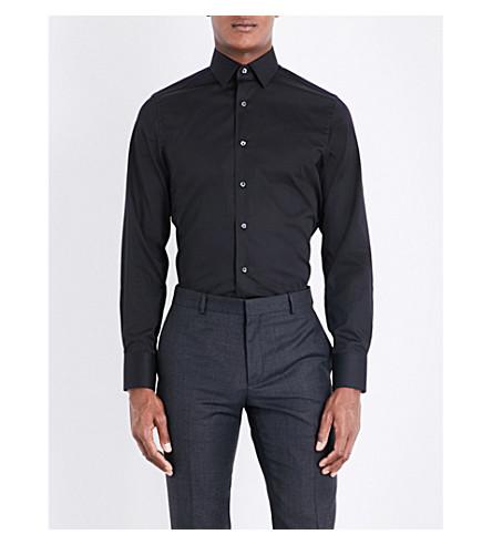 CANALI 修身版型弹力棉衬衫 (黑色