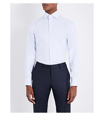 CANALI Regular-fit pindot cotton shirt (Sky+blue