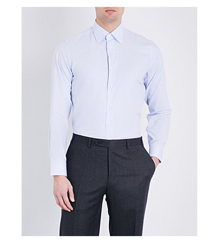CANALI Micro-check regular-fit cotton shirt (Navy