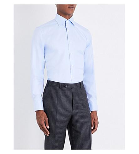 CANALI Regular-fit herringbone cotton shirt (Blue