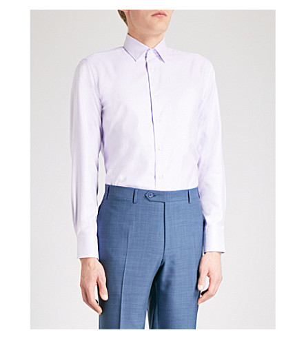 CANALI Herringbone-weave modern-fit cotton shirt (Lilac