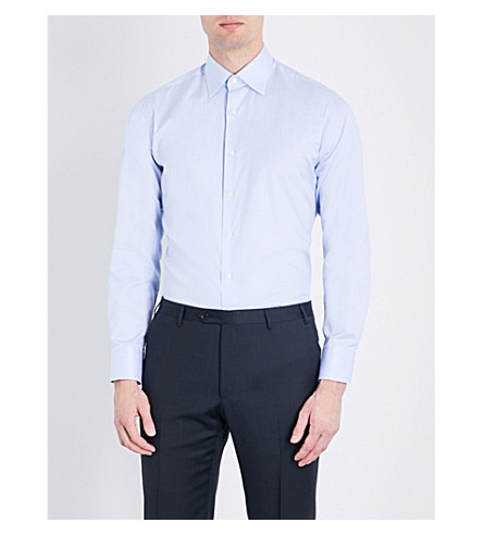 CANALI Pinstripe cotton shirt (Pale+blue