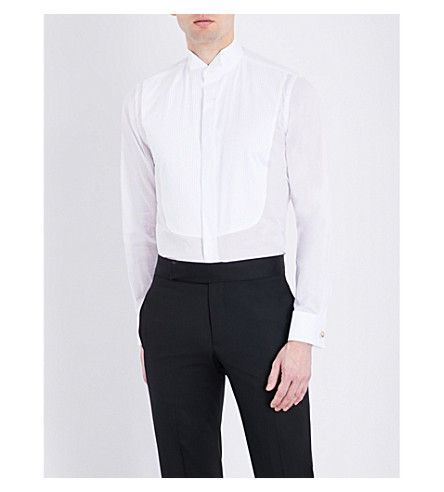 CANALI Yoke-pleated slim-fit cotton shirt (White