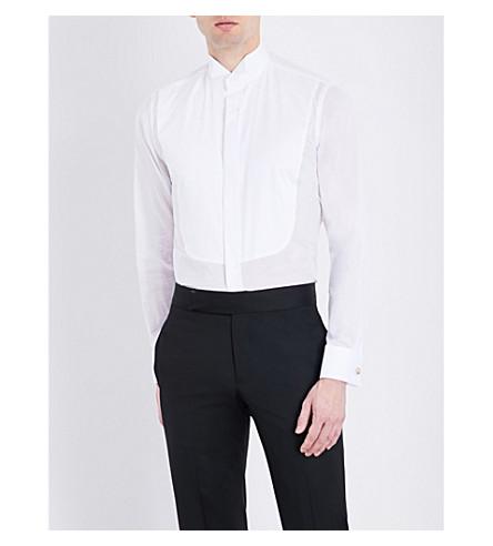 CANALI Yoke-pleated slim-fit cotton shirt (White