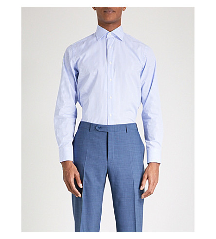 CANALI Striped modern-fit cotton-poplin shirt (Sky