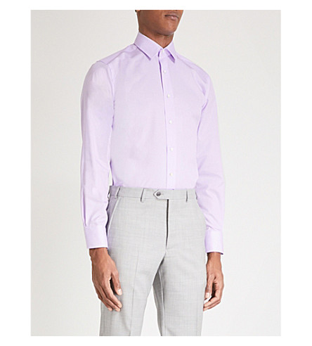 CANALI Slim-fit cotton pinstriped shirt (Lilac