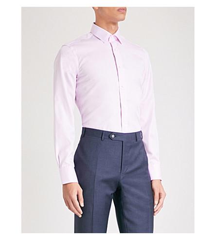 CANALI Diamond-pattern impeccable-fit cotton shirt (Pink