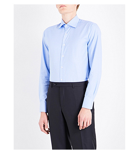 CANALI Circle-pattern regular-fit cotton shirt (Blue