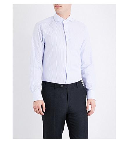 CANALI Striped regular-fit cotton shirt (Blue