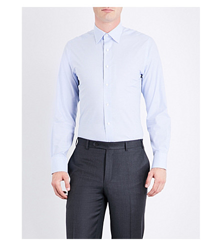CANALI Windowpane-check regular-fit cotton shirt (Blue