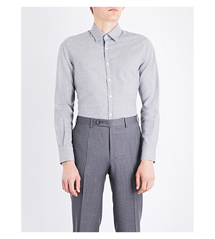CANALI Nailhead regular-fit cotton shirt (Grey