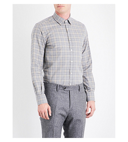 CANALI Check-print cotton shirt (Beige