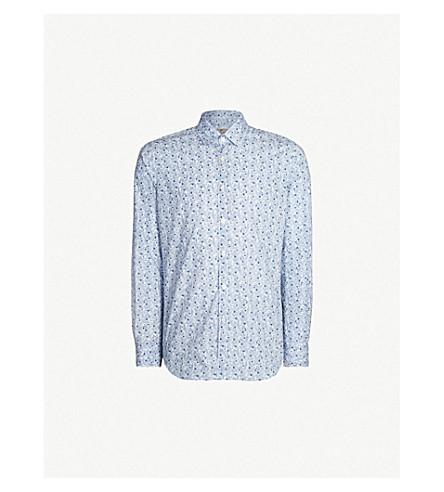 CANALI Floral-print slim-fit cotton shirt (Blue