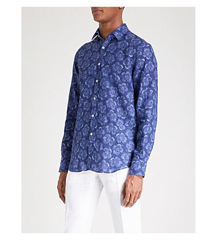 CANALI Floral-print slim-fit linen shirt (Blue