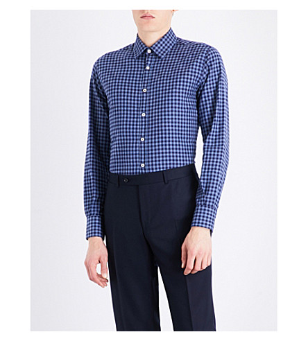 CANALI Checked regular-fit cotton shirt (Blue