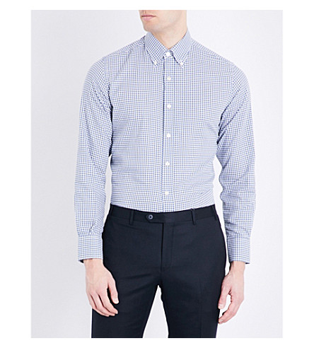 CANALI Gingham check regular-fit cotton shirt (Blue