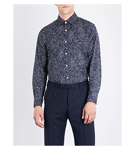 CANALI Floral-print regular-fit cotton shirt (Navy