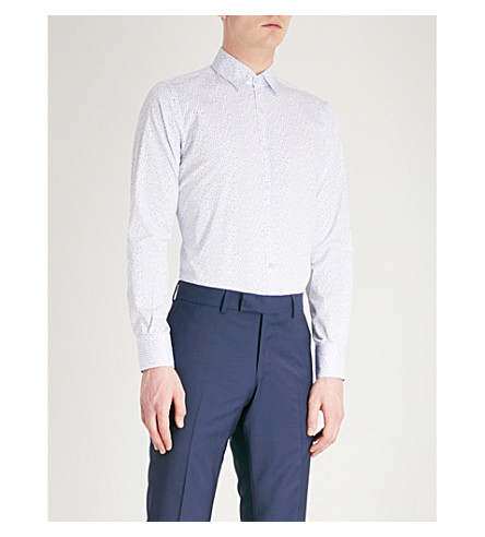 CANALI Dotted regular-fit cotton shirt (Blue