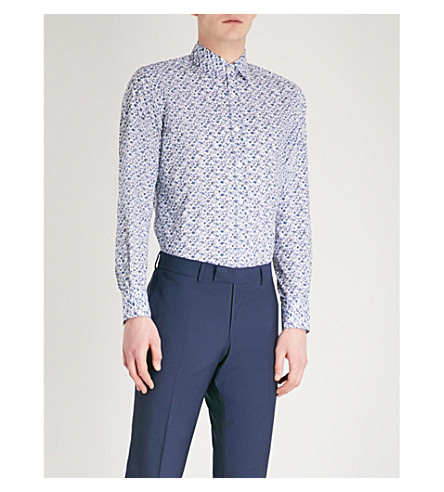 CANALI Floral-print cotton shirt (Blue