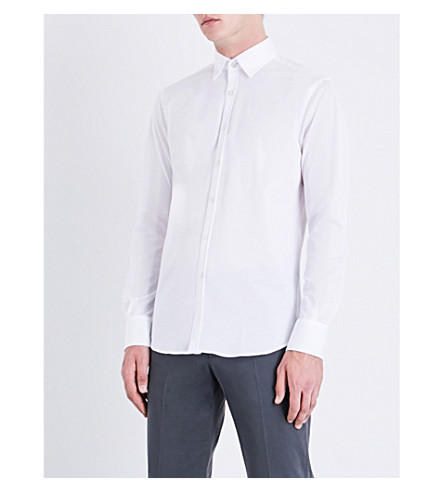 CANALI Regular-fit cotton-piqué shirt (White
