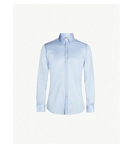 CANALI Mercerised slim-fit sretch-cotton shirt (Sky
