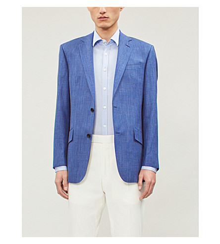 CANALI Mercerised slim-fit sretch-cotton shirt (Sky