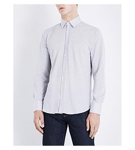 CANALI Regular-fit cotton-piqué shirt (Grey