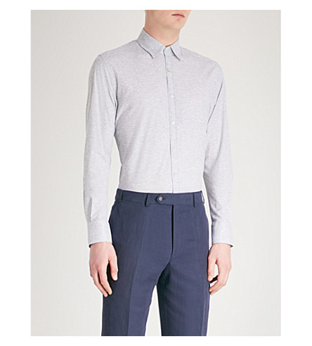 CANALI Long-sleeved cotton-piqué polo shirt (Grey
