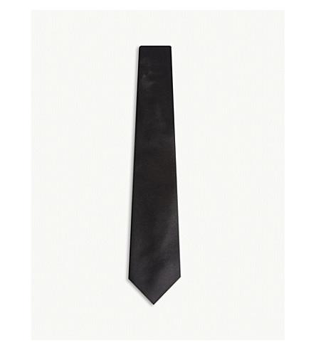 CANALI Solid satin-silk evening tie (Black