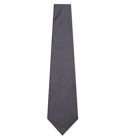 CANALI Solid silk tie (Grey