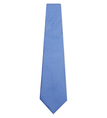 CANALI Silk geometric tie (Pale+blue