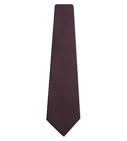 CANALI Tonal woven silk tie (Bordeux