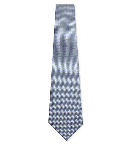 CANALI Silk diamond hopsack tie (Blue