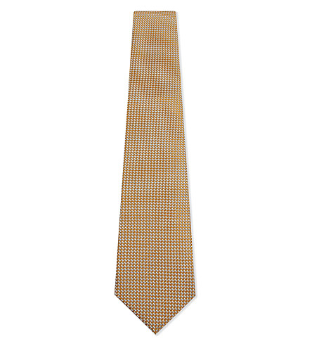 CANALI Silk diamond hopsack tie (Gold
